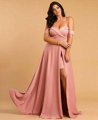 vestido longo com alças ombro a ombro e fenda, para casamento, formatura, festa