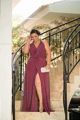 vestido longo em lurex com fenda na parte frontal e decote v, para convidadas, formandas, eventos em geral