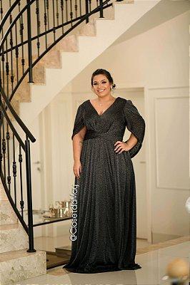 vestido longo em lurex, brilhoso, com manga solta decote v, para casamentos, formaturas