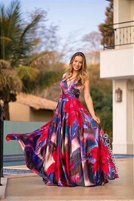 vestido de festa longo estampado, decote em V, com bojo, alças finas, para madrinhas, convidadas, aniversariante