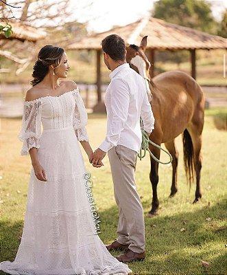 Vestido de noiva longo em mix de renda ombro a ombro e mangas, para casamento civil, cerimônias religiosas, ensaio pre wedding