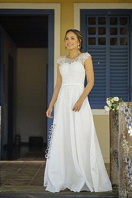 vestido de noiva longo com renda e bordado, mangas curtas, para casamento no civil, casamento religioso
