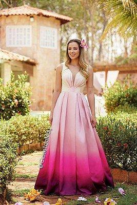vestido de festa longo com decote v e fenda, para madrinhas, formandas, convidadas