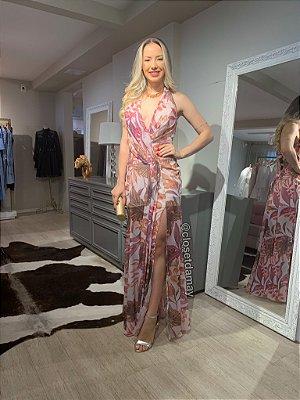 vestido longo de festa estampado, com fenda e decote, para casamentos, festas, aniversários, formaturas