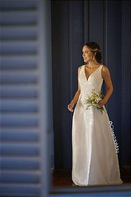 vestido de noiva longo, com renda e bordados, para cerimônia religiosa, casamento no civil, celebrações