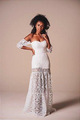 vestido de noiva longo hotpants em renda guipir, ombro a ombro