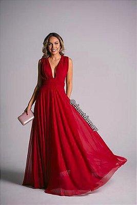 vestido de festa longo em tule com elastano, decote v, com ou sem mangas longas, para madrinhas, formandas, convidadas