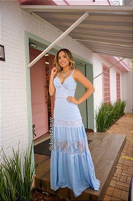 vestido de festa longo e mix de renda, alças finas e decote v