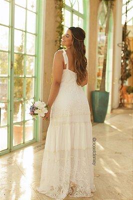 vestido de noiva longo em mix de renda, com alças ajustáveis e decote, casamento civil, pre wedding