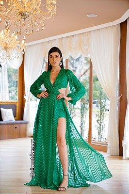 vestido de festa longo, com mangas longas, decote lateral e fendas, para madrinhas, convidadas