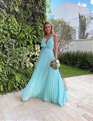 vestido de festa longo, com alças finas, decote, saia plissada, para madrinhas, convidadas, pre wedding