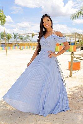 vestido de festa longo, plissado, com alças finas, para madrinhas, convidadas