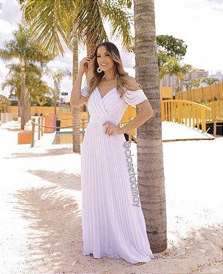 vestido de noiva longo, plissado, com alças finas, para casamento civil, casamento na praia