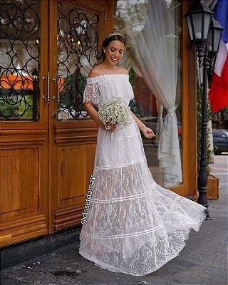 vestido de noiva ombro a ombro, em renda chantilly, mangas em babado, para casamento civil, cerimonias externas