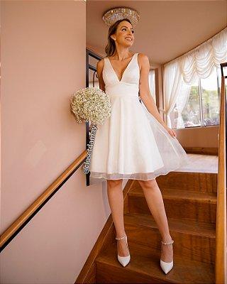 vestido de noiva curto, saia em organza off white, trançado nas costas, para casamento civil, renovação de votos