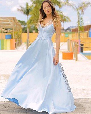 vestido de festa longo em zibeline, alças finas, decote, para madrinhas, convidadas