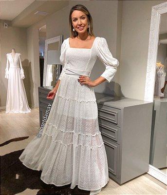 vestido de noiva longo, mangas 3\4, com cinto, para casamento civil, batizados, pre wedding