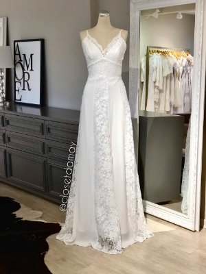 vestido de noiva longo em renda, com alças finas, trançado nas costas, para casamento civil, casamento na praia