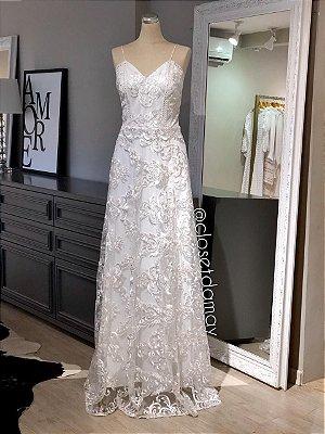 vestido de noiva longo, em renda, decote v, alças finas, para casamento civil, casamento na praia, pre wedding