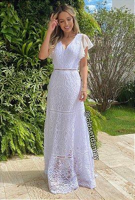 vestido de noiva longo, decote sutil, mangas em babado, mix de renda, casamento civil, batizado, pre wedding