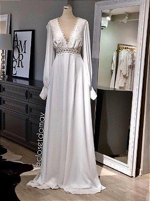 vestido de noiva longo, mangas longas, mix de renda, decote v, casamento civil, pre wedding, renovação de votos