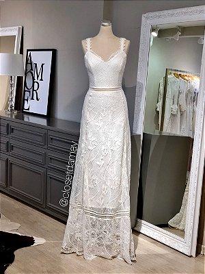 vestido de noiva longo, renda chantilly, alças em guipir, casamento civil, casamento na praia, pre wedding