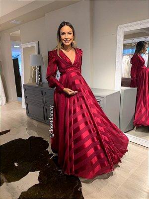 vestido de festa longo, decote v, mangas longas, para ensaio gestante, chá de bebê, madrinhas de casamento