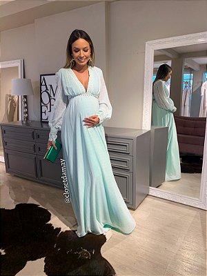 vestido de festa longo, mangas longas, decote v, para ensaio gestante, chá de bebê, madrinhas de casamento