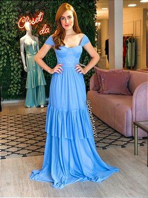 vestido de festa longo, decote coração, babado na saia, cinto fixo, para madrinhas, formandas, convidadas