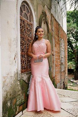 vestido de festa longo, gola alta, bordado em pedrarias, saia em zibeline, para formandas, debutantes, convidadas