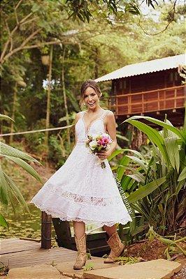 vestido de noiva midi, decote v, em renda, para casamento civil, renovação de votos