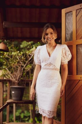 vestido de noiva midi, mangas bufantes, decote v, em renda, para casamento civil, renovação de votos