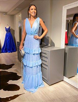 vestido de festa longo, decote v, camadas em babados, para madrinhas, formandas, convidadas