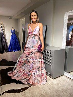 vestido de festa longo, em camadas, estampado, alças finas e decote v, para madrinhas, formandas