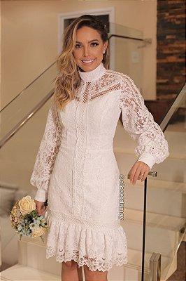 vestido de noiva midi, em renda, gola alta, mangas longas, para casamento civil, renovação de votos