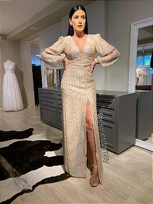 vestido de festa longo, mangas longas, em paete, decote em v, fenda, para madrinhas, formandas, convidadas