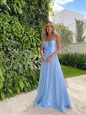 vestido de festa longo, com alças finas, cinto, saia em tule, para madrinhas, formandas, convidadas