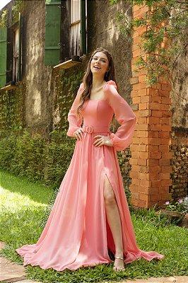 vestido de festa longo, em crepe de seda, com cinto, mangas longas, para madrinhas, convidadas