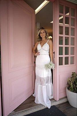 vestido de noiva longo, em mix de renda, alças finas, para casamento civil, ensaio de pre wedding