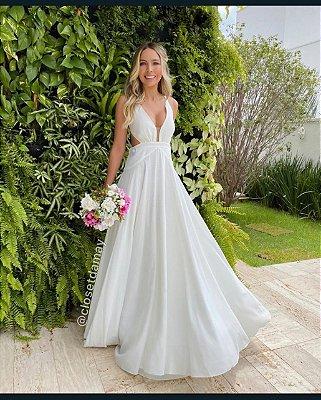 vestido de noiva longo, decote lateral e alças finas, para casamento na praia, casamento civil, pre wedding