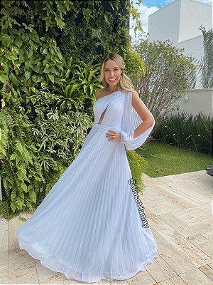 vestido de noiva longo, manga nula, decote, plissado, para casamento civil, casamento na praia