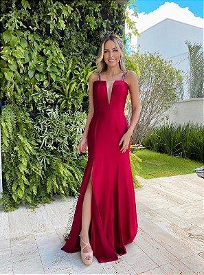 vestido de festa longo, alças finas, decote v, fenda, para madrinha, formanda, convidada