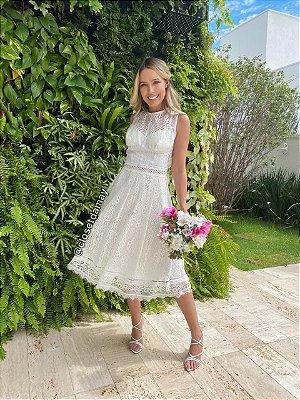 vestido de noiva midi em renda, gola alta, sem mangas, para casamento civil, batizado