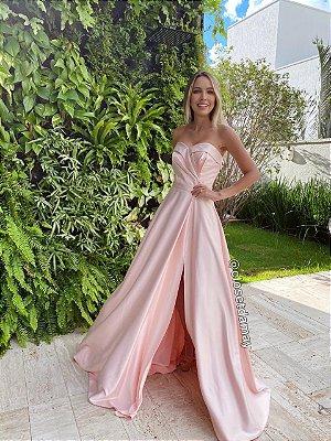 vestido de festa longo, com fenda, decote coração, para madrinhas de casamento, convidadas, formandas