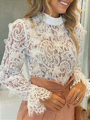 blusa manga longa renda bordado