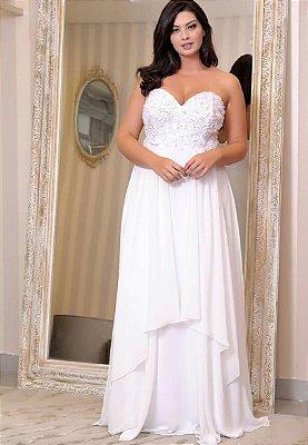 vestido de noiva longo, bordado no busto, com mangas soltas, para casamento civil, pre wedding