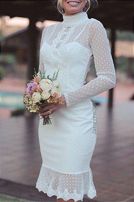 Vestido de noiva midi renda, poá e babados