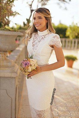 Vestido midi em renda, tule e poá, para casamento civil e casamento religioso