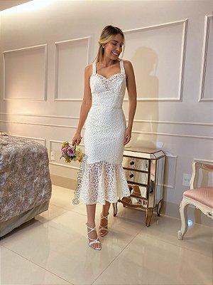 Vestido midi de alça em renda , para casamento civil e casamento religioso