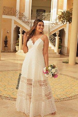 Vestido longo, com alças em renda francesa, para casamento civil, casamento religioso